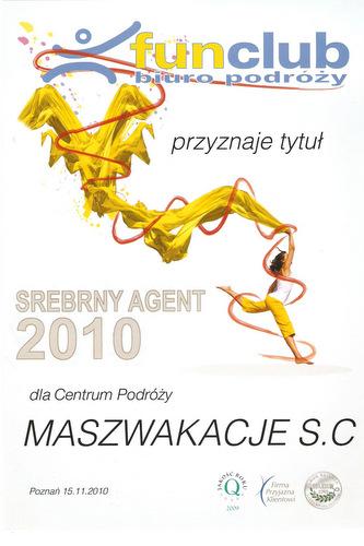 Masz Wakacje jednym z najlepszych salonów Fun Club w Polsce w roku 2010