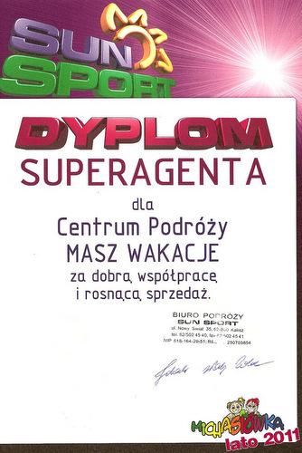 Dyplom za profesjonalną obsługę Klientów i wysoką sprzedaż dla serwisu kolonieiobozy.net